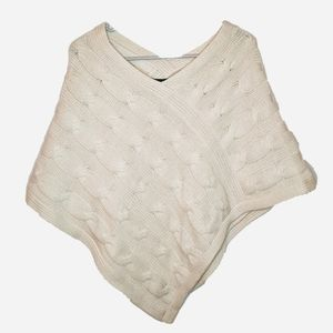 Express | 100% Cashmere Chunky Knit Cream Poncho